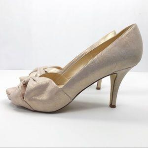 3/$30 Kate Spade open toe metallic pumps